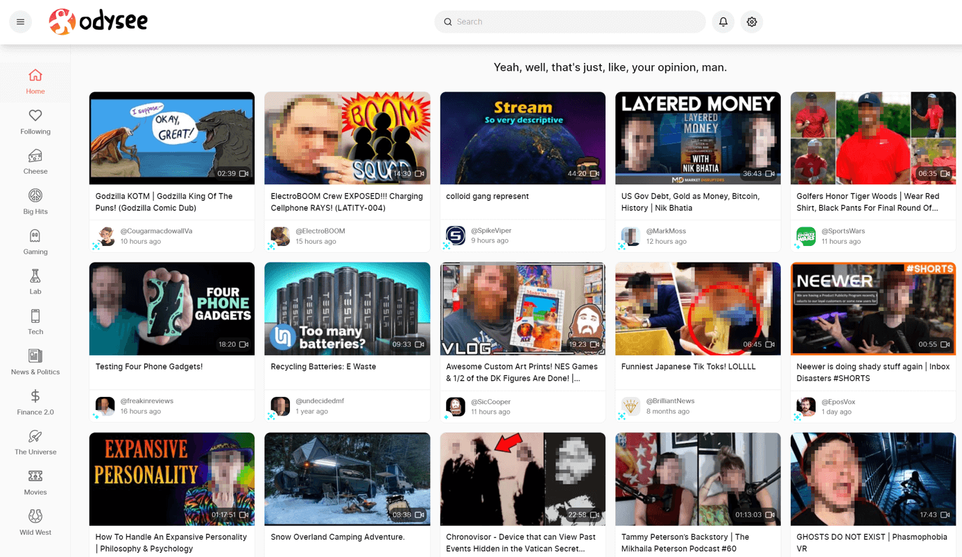 Screenshot of the Odysee platform