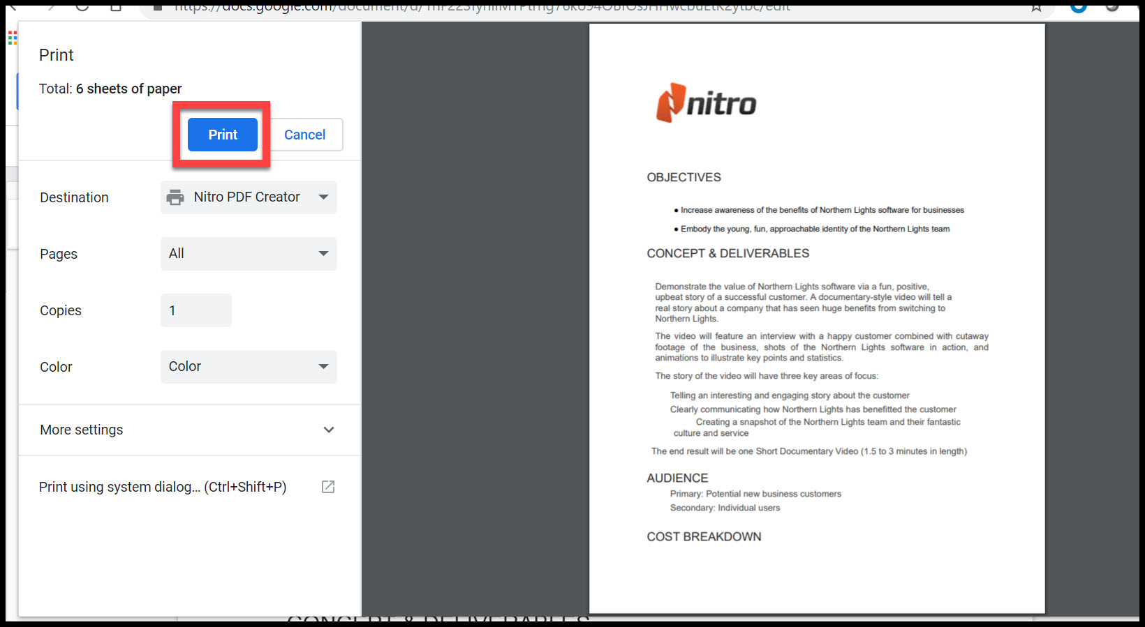 Print to PDF You can create a PDF document from virtually any application that allows you to print files. Nitro PDF Creator is included in Nitro Pro, and is a virtual printer that enables you to create a PDF file from any application capable of printing. Instead of ...