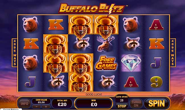 Buffalo Blitz Video Slot | Review of new game from Playtech that is now available at online casinos, play with free spins bonus here